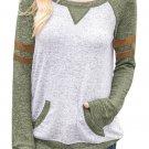 Contrast Stripes Green Sleeves Women's Sweatshirt