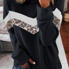 Black Leopard Print Crew Neck Color Block Sweatshirt
