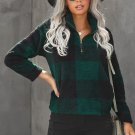 Green Checkered Half Zip Pullover
