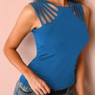Blue Brief Studded Detail Multi-Strap Casual Tank Top