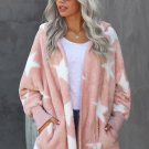 Pink Lapel Collar Scatter Star Fuzzy Coat