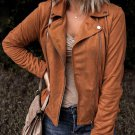 Brown Moto Suede Lapel Collar Zipper Long Sleeve Jacket