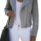 Light Gray Zipped Notch Collar Short Jacket