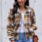 Brown Plaid Print Sherpa Jacket Coat