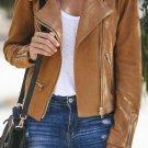 Brown Zipped Notch Collar Short Jacket