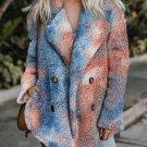 Orange Tie Dye Lapel Collar Open Front Fleece Coat