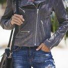 Dark Gray Zipped Notch Collar Short Jacket