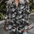 Gray Camo Lapel Collar Open Front Fleece Coat