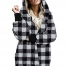 Black Plaid Fuzzy Fleece Open Front Hooded Coat with Pocket