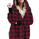 Red Plaid Fuzzy Fleece Open Front Hooded Coat with Pocket