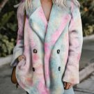 Multi-color Tie Dye Lapel Collar Open Front Fleece Coat