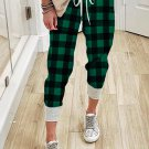 Green Plaid Drawstring Joggers