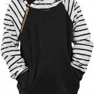 Black Stripes Splicing Diagonal Zipper Children's Hoodie