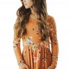 Floral Orange Swing Dress with Hidden Pockets