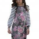 Gray Spring Fling Floral Striped Sleeve Short Dress for Kids