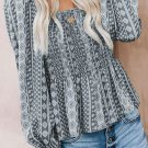 Gray Bohemian Print Shirred Bodice Tunic Top