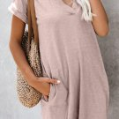 Pink Came To Play Cotton Blend Pocketed T Shirt Dress