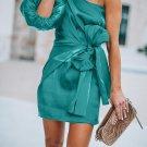 Sloping Shoulder Lantern Sleeve Satin Party Dress