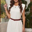 White Padded Shoulder Sleeveless Cotton Pocketed Mini Dress