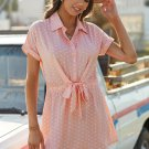 Pink Polka Dot Shirt Collar Short Sleeve Mini Dress