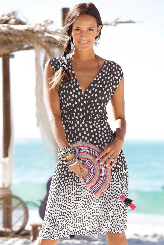 Gradient Polka Dot V Neck Sleeveless Beach Dress