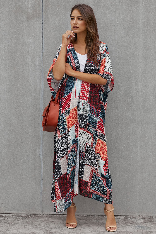 Geometric Plaid Bohemian Style Tie Kimono