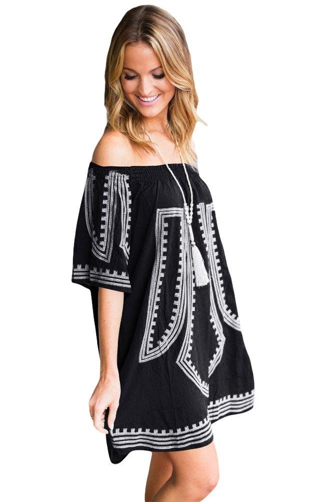 Black Bohemian Vibe Geometric Print Beach Dress