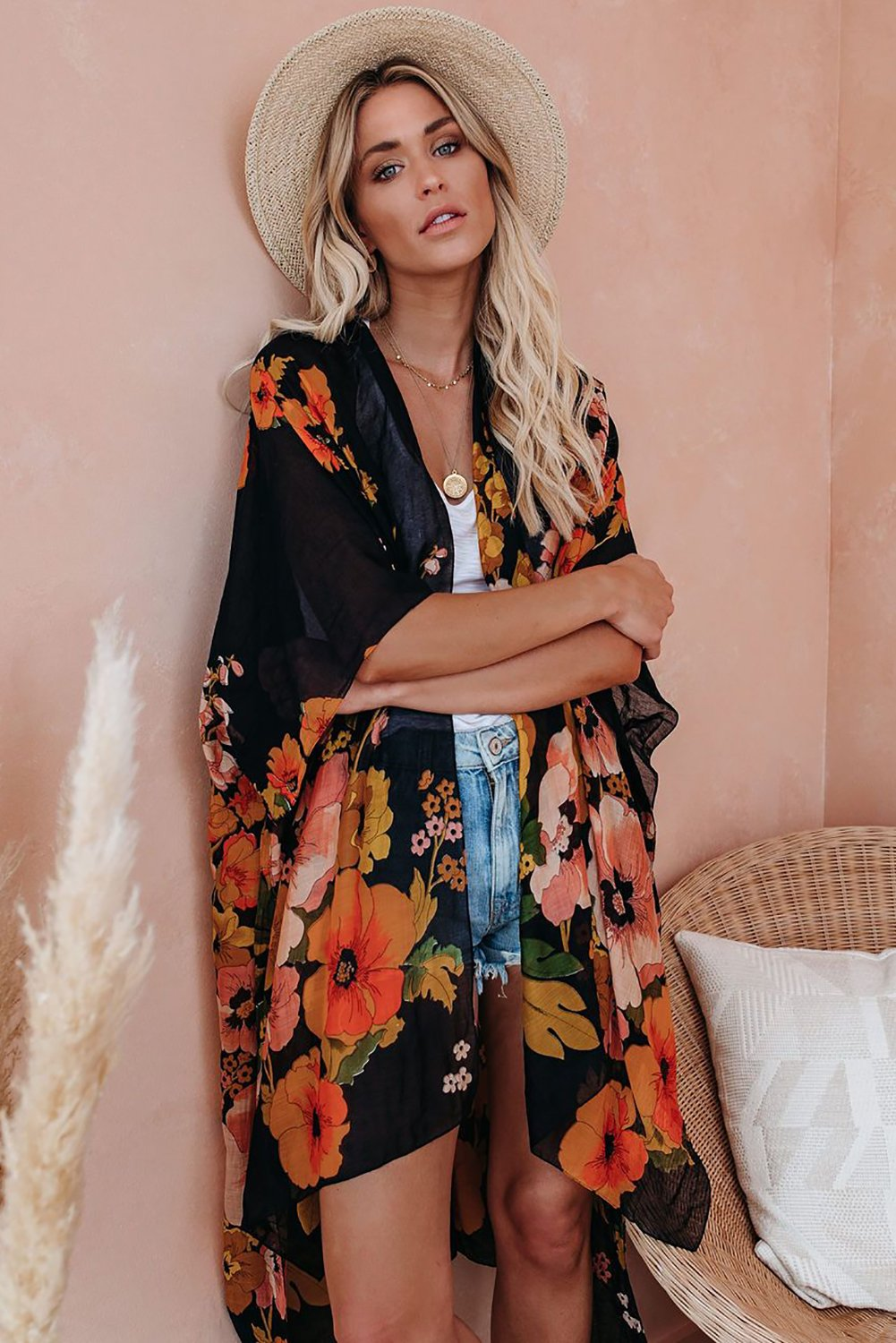 Black Kimono Sleeve Floral Print Graceful Cover Up