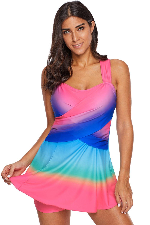 Rosy Ombre Tie Dye Swim Dress with Shorts