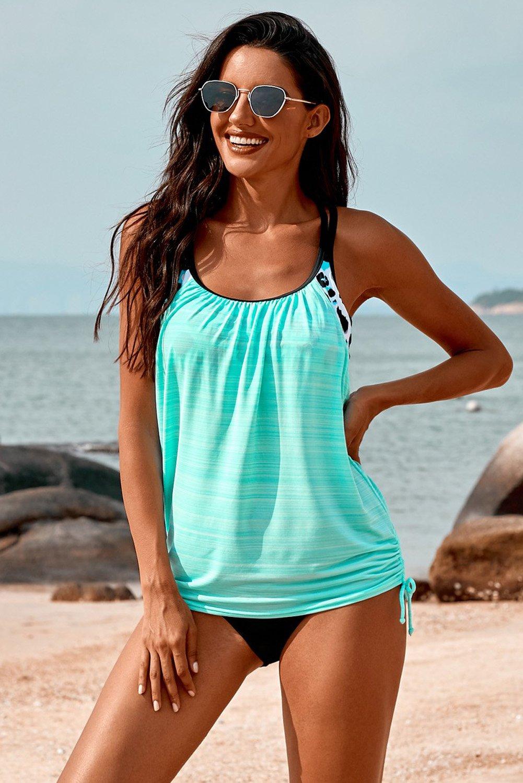 Sky Blue Printed Lined Tankini Swimsuit