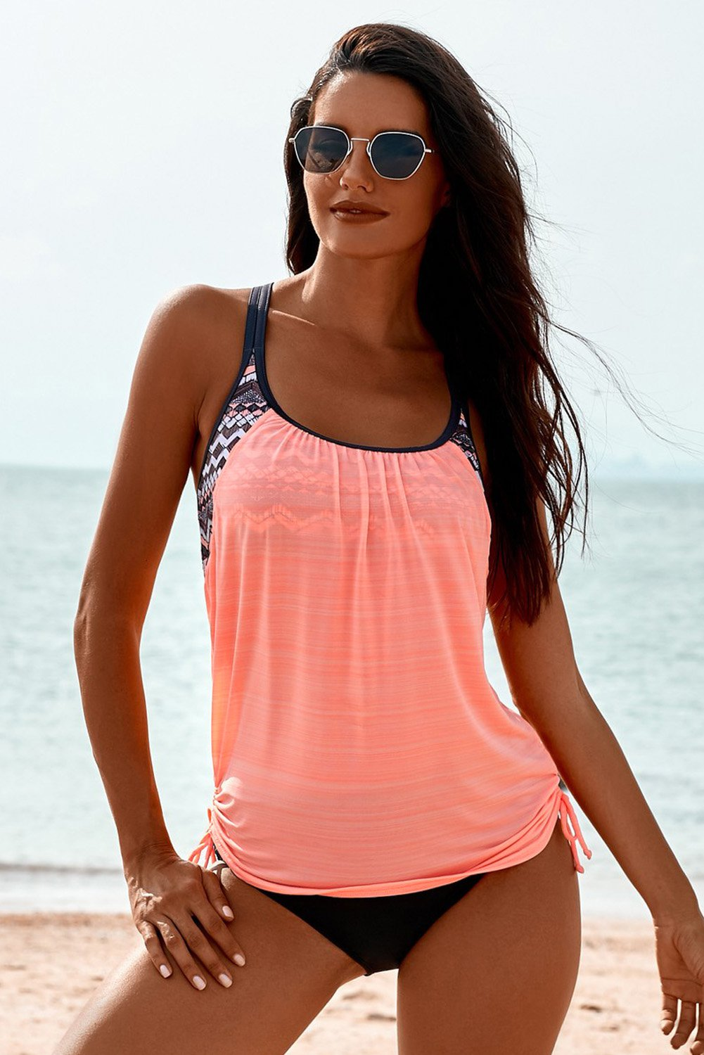 Pink Printed Lined Tankini Swimsuit