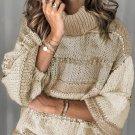 Khaki Turtleneck Balloon Sleeves Knit Sweater