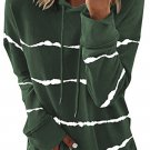 Green Tie dye Striped Drawstring Hoodie with Side Split