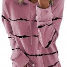 Pink Tie dye Striped Drawstring Hoodie with Side Split