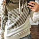 Green Cowl Neck Striped Color Block Drawstring Hoodie