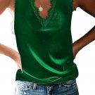 Green Dressy Eyelash Lace V Neck Tank Top