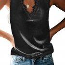 Black Dressy Eyelash Lace V Neck Tank Top