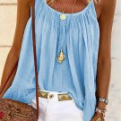 Light Blue Spaghetti Straps Pleated Ruffled Tank Top