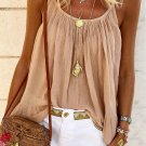 Apricot Spaghetti Straps Pleated Ruffled Tank Top