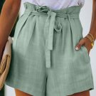 Green Tie Waist Casual Shorts with Pockets