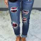 Red Plaid Patch Destroyed Skinny Jeans