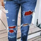 Sky Blue Plaid Patchwork Hollow Out Ripped Jeans