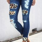 Blue Hollow Out Leopard Splice Ripped Jeans