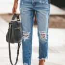 Leopard Patchwork Hollow Out Frayed Hem Ripped Jeans