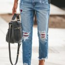 Plaid Patchwork Hollow Out Frayed Hem Ripped Jeans
