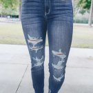 Blue Medium Wash High Rise Distressed Skinny Jeans
