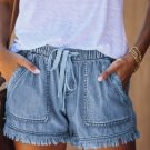 Sky Blue Casual Pocketed Frayed Denim Shorts