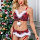 2pcs Red Plaid Feather Trimming Christmas Costume
