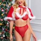 3pcs Red Plush Lingerie Panty Cloak Christmas Costume