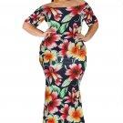 Blue California Poppy Mermaid Plus Size Dress